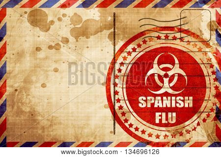 Spanish flu concept background, red grunge stamp on an airmail