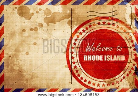 Welcome to rhode island, red grunge stamp on an airmail background
