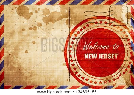 Welcome to new jersey, red grunge stamp on an airmail background
