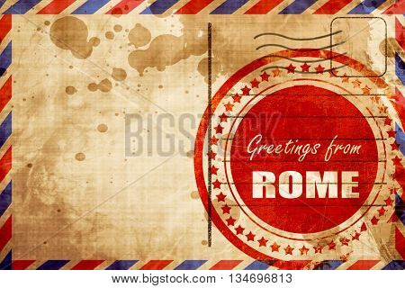 Greetings from rome, red grunge stamp on an airmail background