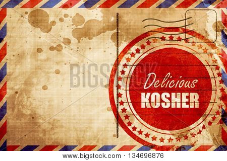 Delicious kosher food, red grunge stamp on an airmail background