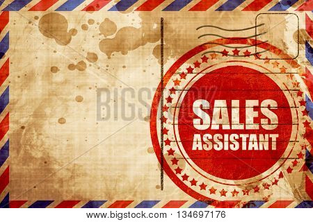 sales assistant, red grunge stamp on an airmail background