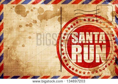 santa run, red grunge stamp on an airmail background