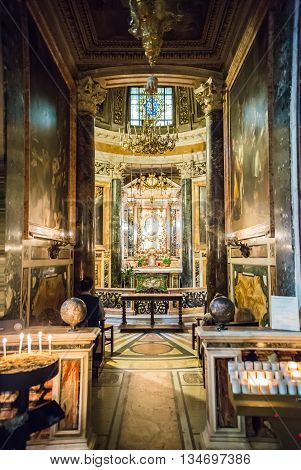 ROME, ITALY - APRIL 8, 2016: Interior of the San Marcello al Corso church, 18th century