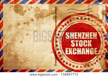 shenzhen stock exchange, red grunge stamp on an airmail backgrou