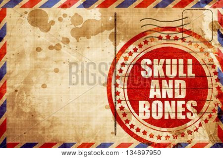 skull and bones, red grunge stamp on an airmail background