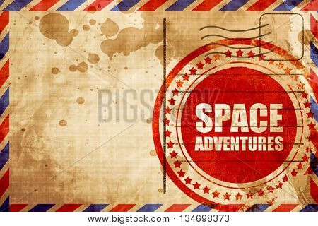 space adventures, red grunge stamp on an airmail background