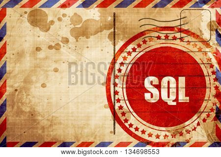 sql, red grunge stamp on an airmail background
