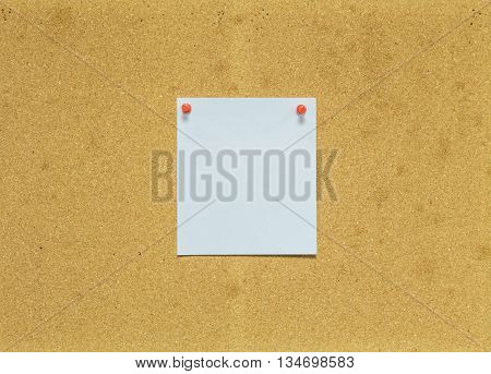 Paper on cork board for notice background