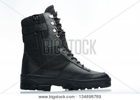 Side View Black Combat Boot