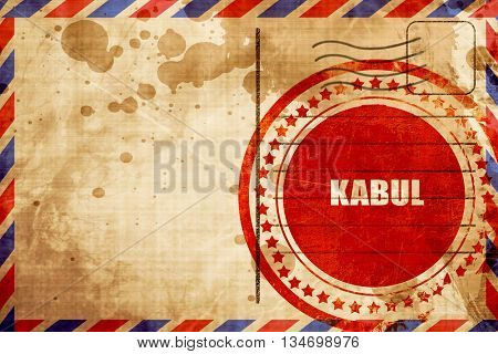 kabul, red grunge stamp on an airmail background