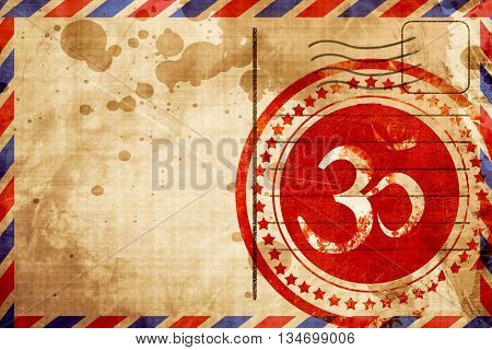 Om sign icon, red grunge stamp on an airmail background