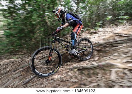 Prachinburi Thailand -June 05 2016: Thailand Enduro Series 2016. Mountain bike races at Kao E-TO which combines cross-country mountain bike downhill on June 4-6 2016.