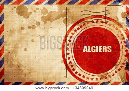 algiers, red grunge stamp on an airmail background
