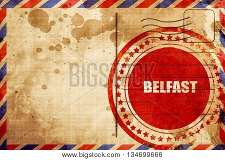 belfast, red grunge stamp on an airmail background