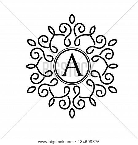 letter A with abstract simple black color frame