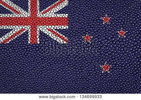 New zealand flag on stingray skin texture