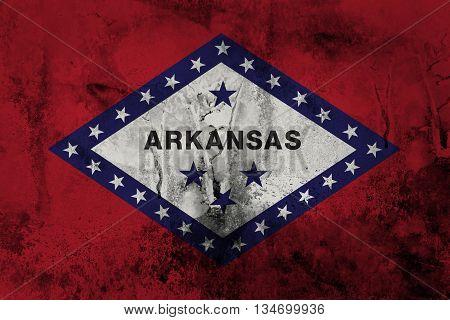 Grunge flag of Arkansas paper texture background