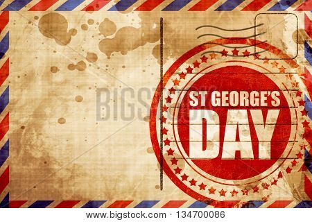 st georges day, red grunge stamp on an airmail background