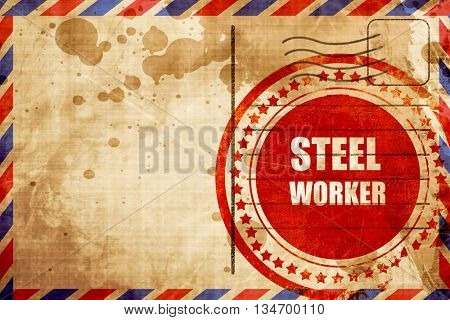 Steel background with smooth lines, red grunge stamp on an airma
