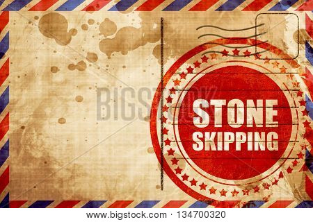 stone skipping, red grunge stamp on an airmail background