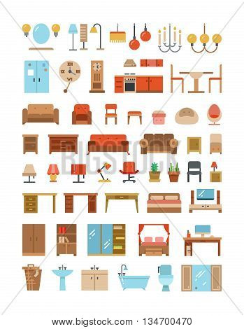 Home and office furniture interiors flat icons set. Furniture for home and office, furniture table sofa and armchair. Vector illustration