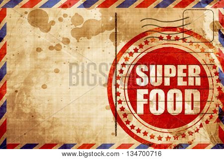 super food, red grunge stamp on an airmail background