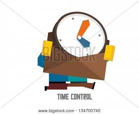 Time control. Flat vector illustration.