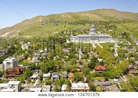 Salt Lake city capitol building and surrounding neighborhood.