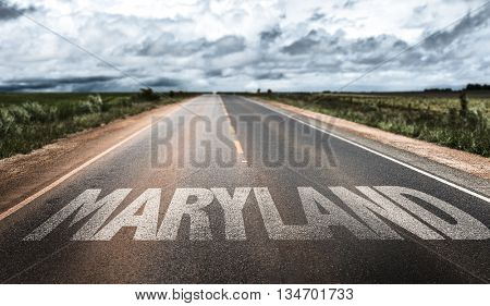 Maryland written on the road