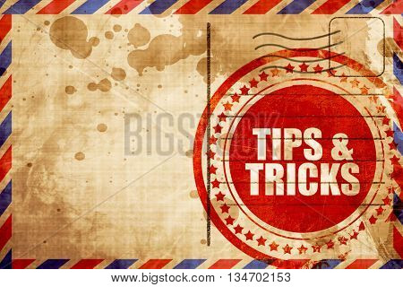 tips , red grunge stamp on an airmail background