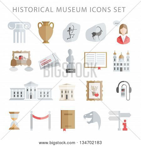 History, art, paleontology and archeology museum icons vector set