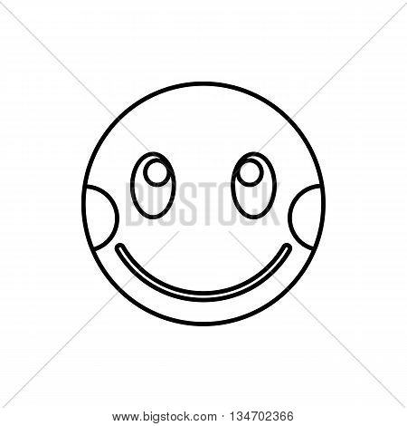 Embarrassed emoticon with flushed cheeks icon in outline style isolated on white background
