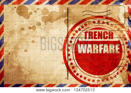 trench warfare sign, red grunge stamp on an airmail background