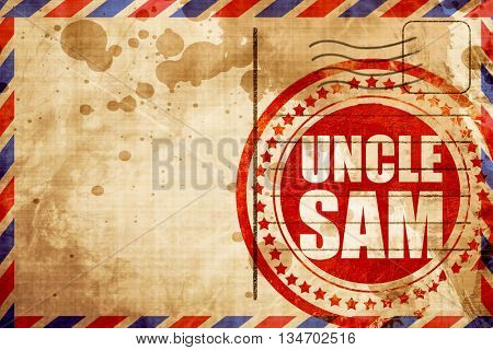 uncle sam, red grunge stamp on an airmail background