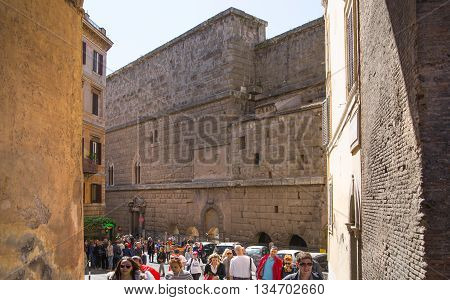 ROME, ITALY - APRIL 8, 2016:Market walls  of Emperor Trajan Forum 106 - 112 AD AD, measuring 300 metres (980 feet) long and 185 metres (607 feet) wide
