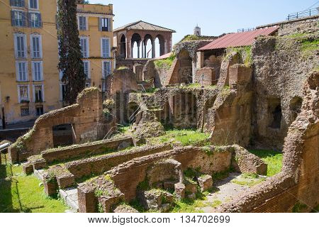 ROME, ITALY - APRIL 8, 2016: Market ruins of Emperor Trajan Forum 106 - 112 AD AD, measuring 300 metres (980 feet) long and 185 metres (607 feet) wide