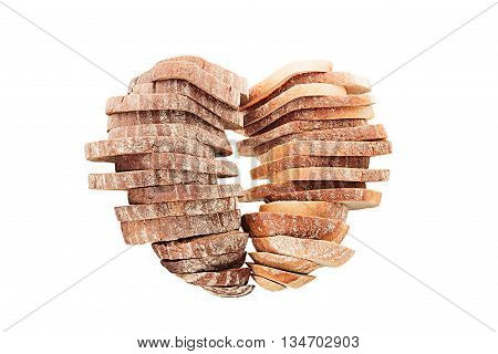 Two stacks of sliced bread in a heart shape on white background. Isolated. Concept art. Food background. Black rye bread and white bread.