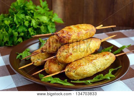 Grilled meat on a skewer - lula kebab. The traditional dish of the Caucasus Central Asia and Turkey.