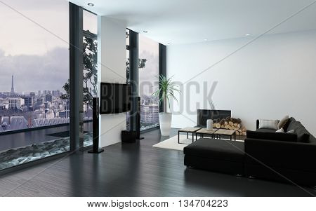 Contemporary spacious apartment with fireplace and floor to ceiling windows. 3d Rendering.