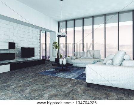 Spacious contemporary living room with white sofas and floor to ceiling windows. 3d Rendering.