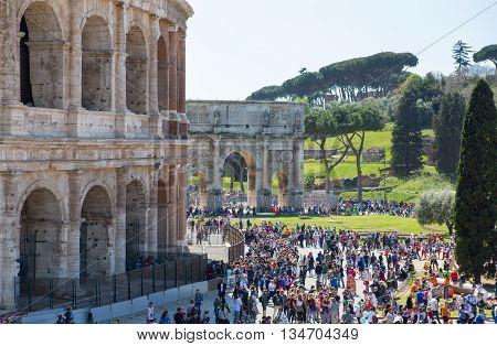 ROME, ITALY - APRIL 8, 2016: Ruins of Coliseum, panoramic view
