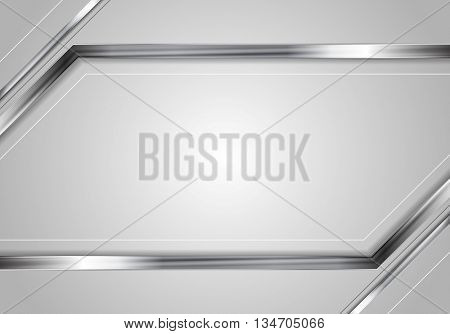 Concept tech metallic abstract striped background. Silver metal stripes on grey backdrop. Hi-tech metallic illustration