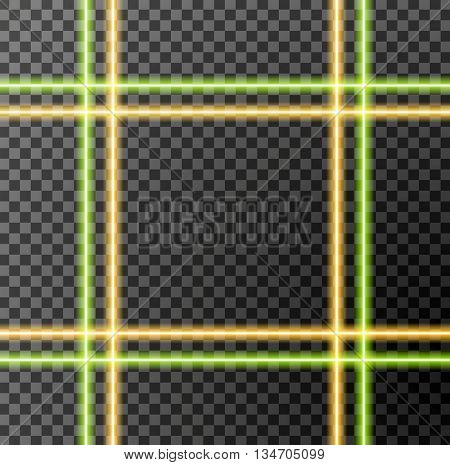 Abstract bright neon light transparent stripes background. Green and orange glow light sparkling effect vector design