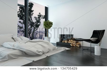 Contemporary apartment with unmade simple bed and bare white walls beside fireplace. 3d Rendering.