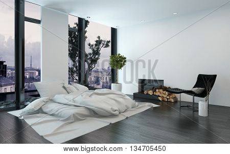 Luxurious apartment with bare walls and fireplace beside simple unmade bed and floor to ceiling windows. 3d Rendering.