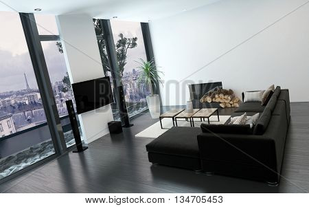 Luxurious living room with floor to ceiling window overlooking a city and having modern furnishings. 3d Rendering.