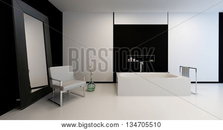 Elegant modern black and white bathroom interior with minimalist decor in a spacious room and large mirror leaning against a black wall. 3d Rendering.