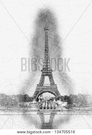 Pencil Line Sketch of Historical Eiffel Tower with Shading and Reflection in Water Fountain on White Paper - Artistic Rendering of Eiffel Tower Landmark in Paris, France