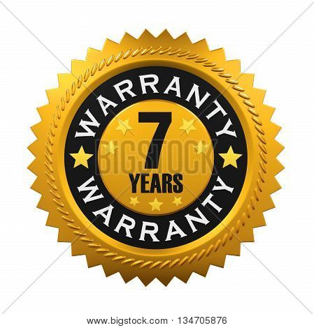 7 Years Warranty Sign isolated on white background. 3D render